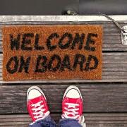 Fußabstreifer mit Schrift welcome on Board