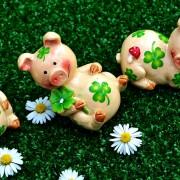 Schweine-Figuren mit Glücksklee